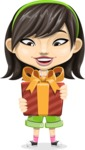Asian School Girl Cartoon Vector Character AKA Ah Cy - Gift
