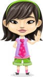 Asian School Girl Cartoon Vector Character AKA Ah Cy - Wave