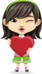 Asian School Girl Cartoon Vector Character AKA Ah Cy - Love