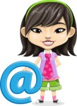 Asian School Girl Cartoon Vector Character AKA Ah Cy - E-mail