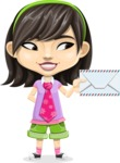 Asian School Girl Cartoon Vector Character AKA Ah Cy - Letter