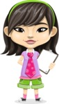 Asian School Girl Cartoon Vector Character AKA Ah Cy - Note 1