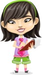 Asian School Girl Cartoon Vector Character AKA Ah Cy - Note 2