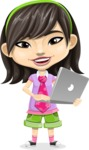 Asian School Girl Cartoon Vector Character AKA Ah Cy - Laptop