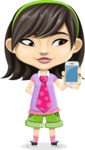Asian School Girl Cartoon Vector Character AKA Ah Cy - iPhone