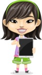 Asian School Girl Cartoon Vector Character AKA Ah Cy - iPad 1
