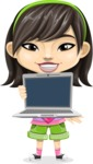 Asian School Girl Cartoon Vector Character AKA Ah Cy - Laptop 1