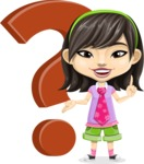 Asian School Girl Cartoon Vector Character AKA Ah Cy - Question mark