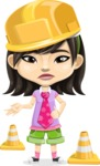 Asian School Girl Cartoon Vector Character AKA Ah Cy - Under Construction