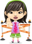 Asian School Girl Cartoon Vector Character AKA Ah Cy - Under Construction 2