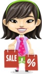 Asian School Girl Cartoon Vector Character AKA Ah Cy - Sale