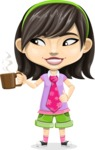 Asian School Girl Cartoon Vector Character AKA Ah Cy - Coffee