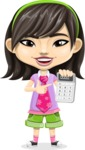 Asian School Girl Cartoon Vector Character AKA Ah Cy - Calculator