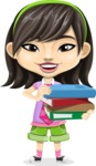 Asian School Girl Cartoon Vector Character AKA Ah Cy - Book 2