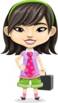 Asian School Girl Cartoon Vector Character AKA Ah Cy - Briefcase 1