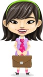 Asian School Girl Cartoon Vector Character AKA Ah Cy - Briefcase 2