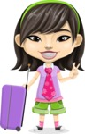 Asian School Girl Cartoon Vector Character AKA Ah Cy - Travel