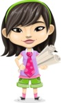 Asian School Girl Cartoon Vector Character AKA Ah Cy - Plans