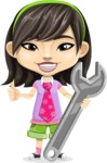 Asian School Girl Cartoon Vector Character AKA Ah Cy - Repair