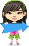 Asian School Girl Cartoon Vector Character AKA Ah Cy - Pointer 2