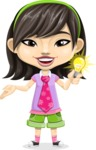 Asian School Girl Cartoon Vector Character AKA Ah Cy - Idea 1
