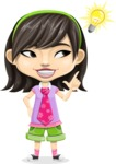 Asian School Girl Cartoon Vector Character AKA Ah Cy - Idea 2