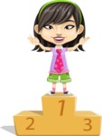Asian School Girl Cartoon Vector Character AKA Ah Cy - On Top
