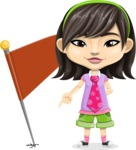 Asian School Girl Cartoon Vector Character AKA Ah Cy - Checkpoint