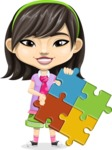 Asian School Girl Cartoon Vector Character AKA Ah Cy - Puzzle