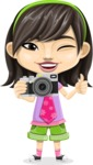 Asian School Girl Cartoon Vector Character AKA Ah Cy - Camera