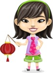 Asian School Girl Cartoon Vector Character AKA Ah Cy - Lantern