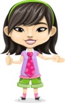 Asian School Girl Cartoon Vector Character AKA Ah Cy - Show 2