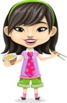 Asian School Girl Cartoon Vector Character AKA Ah Cy - Rice bowl