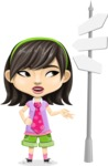 Asian School Girl Cartoon Vector Character AKA Ah Cy - Crossroad