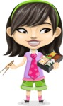 Asian School Girl Cartoon Vector Character AKA Ah Cy - Lunch box