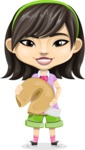 Asian School Girl Cartoon Vector Character AKA Ah Cy - Fortune cookie 1