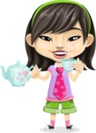 Asian School Girl Cartoon Vector Character AKA Ah Cy - Tea