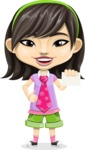 Asian School Girl Cartoon Vector Character AKA Ah Cy - Sign 1