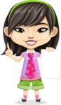 Asian School Girl Cartoon Vector Character AKA Ah Cy - Sign 2