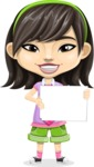 Asian School Girl Cartoon Vector Character AKA Ah Cy - Sign 3