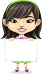 Asian School Girl Cartoon Vector Character AKA Ah Cy - Sign 5