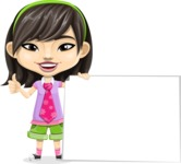 Asian School Girl Cartoon Vector Character AKA Ah Cy - Sign 7