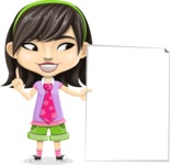 Asian School Girl Cartoon Vector Character AKA Ah Cy - Sign 8