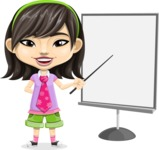 Asian School Girl Cartoon Vector Character AKA Ah Cy - Presentation 1