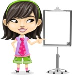 Asian School Girl Cartoon Vector Character AKA Ah Cy - Presentation 2