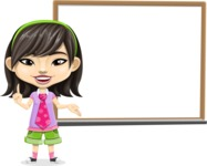 Asian School Girl Cartoon Vector Character AKA Ah Cy - Presentation 3