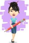 Asian Woman Cartoon Vector Character AKA Ann Li - Shape 11