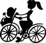 Mom on a Bike with Baby