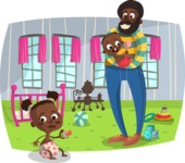 Afro-American Man and Babies
