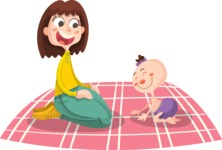 Mom and Baby on a Rug